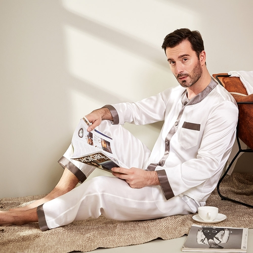 White Men Silk Pajamas