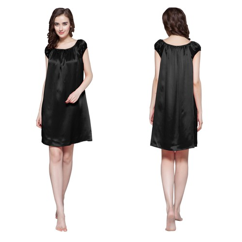 22 Momme Mid length Silk Nightdress with Tied Bust