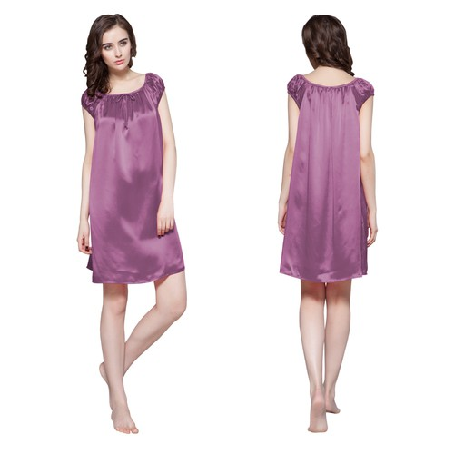 22 Momme Mid length Silk Nightgown with Tied Bust