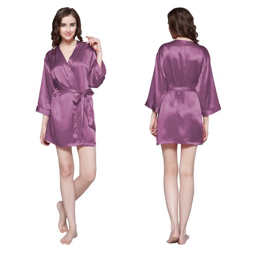 Violet Women Silk Dressing Gown