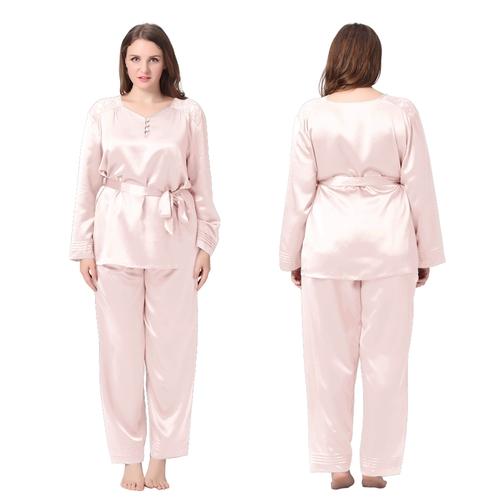 Light Pink Plus Size Silk Pajama