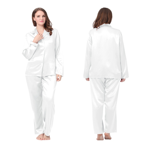 White Plus Size Silk Pajamas