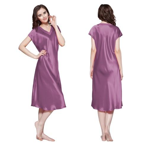camicia da notte lunga di 22 momme seta rilassata