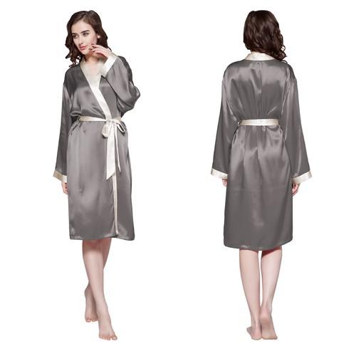 Dark Gray Women Silk Dressing Gown