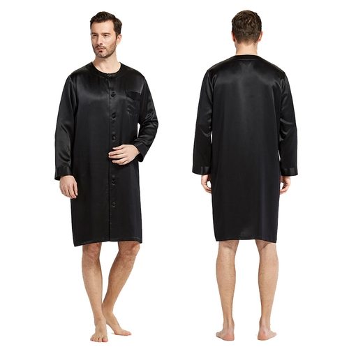 22 Momme Round Collar Silk Robe For Men