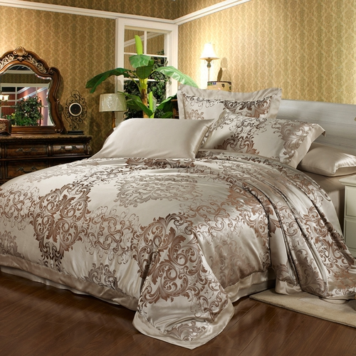 Bright Coffee Silk Duvet Cover