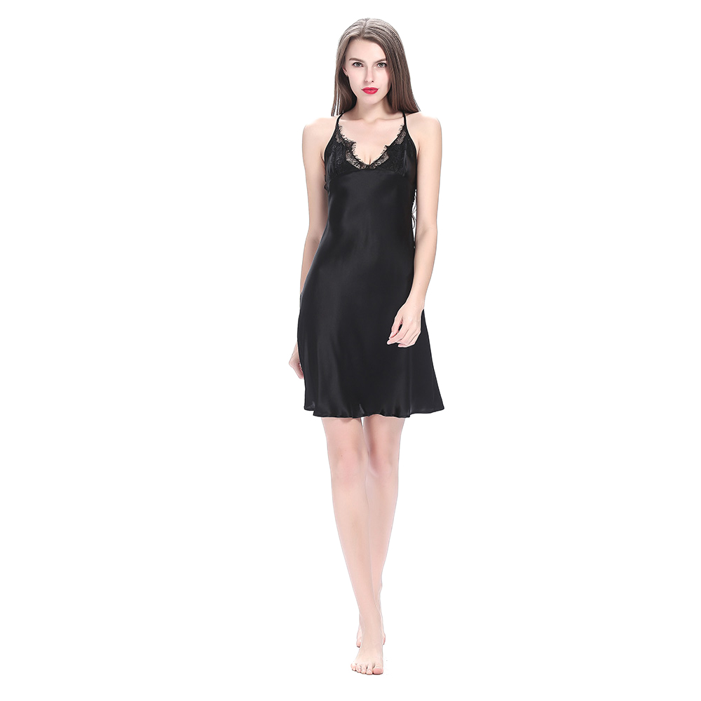 Soft Black Silk Lace Nightgown With Straps