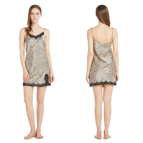 22 Momme Sexy Loepard Silk Nightgown with Lace