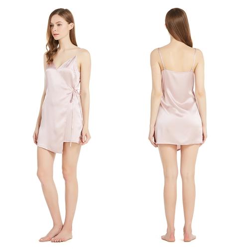 22 Momme Short Silk Nightdress with Irregular Hemline