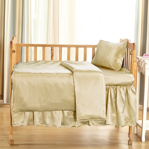 Soft Yellow Silk Crib Bedding