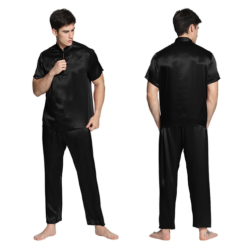 Black Men Silk Pajamas