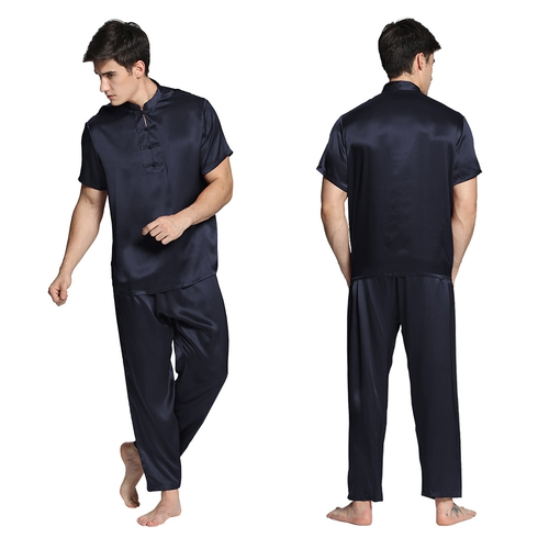 Dark Gray Men Silk Pyjamas