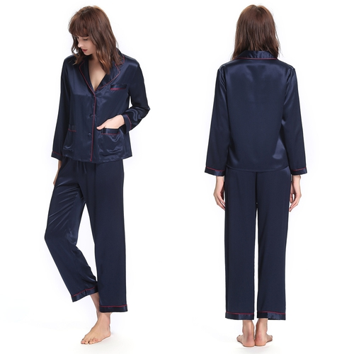 22 Momme Stilvoll Seide Pyjama Set mit Kontrastfarbenen Besatz