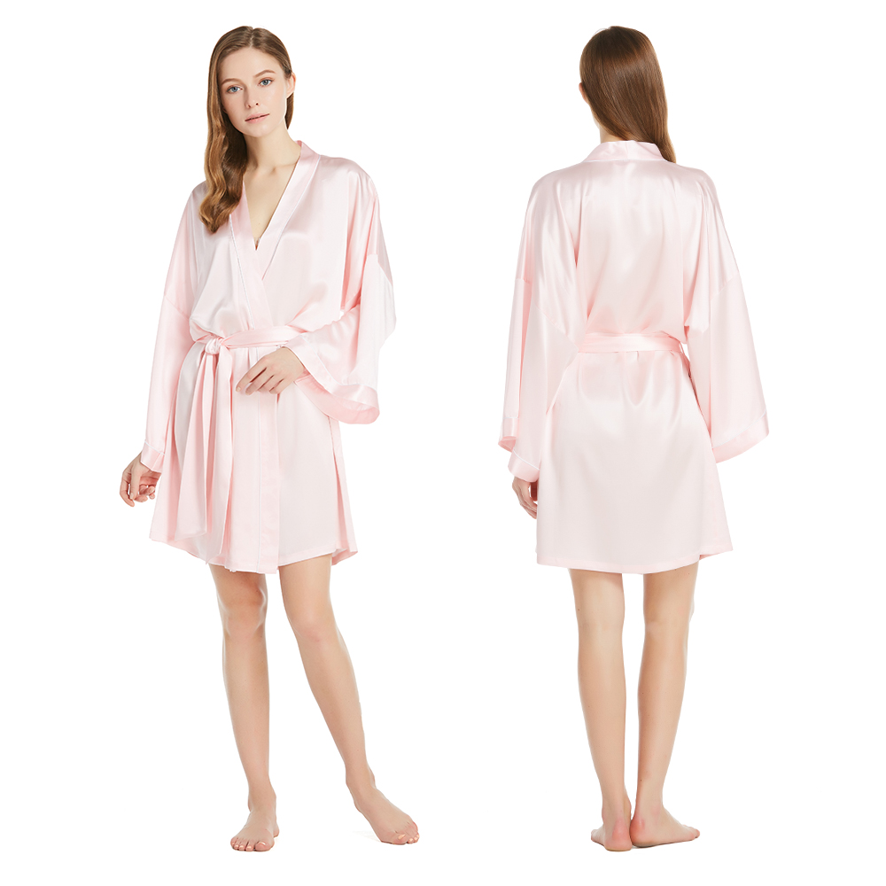 22 Momme Wide Sleeve Short Kimono Silk Dressing Gown