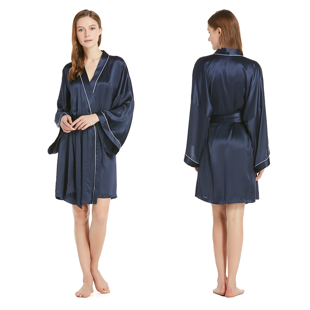 3537c783a3 22 Momme Wide Sleeve Short Kimono Silk Dressing Gown