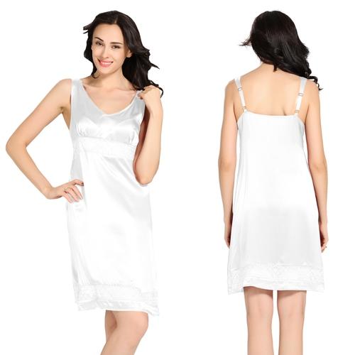 White Women Silk Nightgown