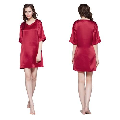 Rojo Vino Camisones Seda Mujer