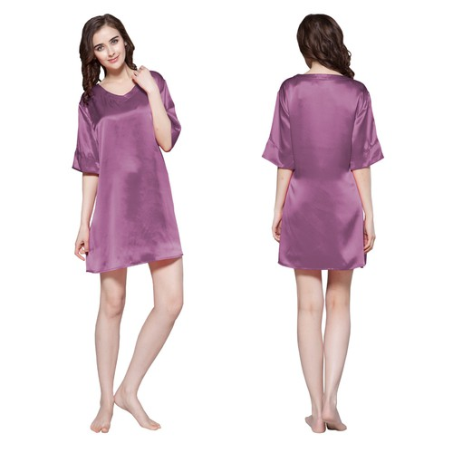 22 Momme Wide V neck Silk Nightgown
