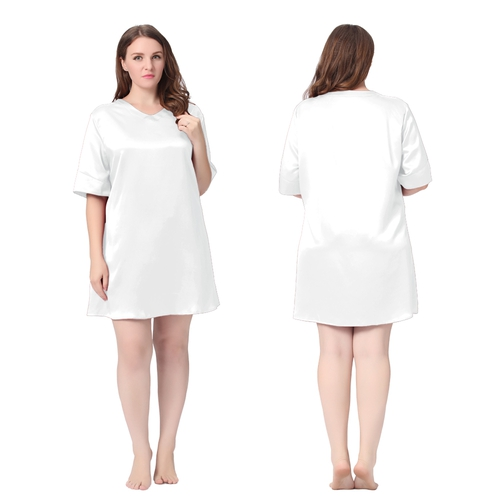 White Plus Size Silk Nightgown