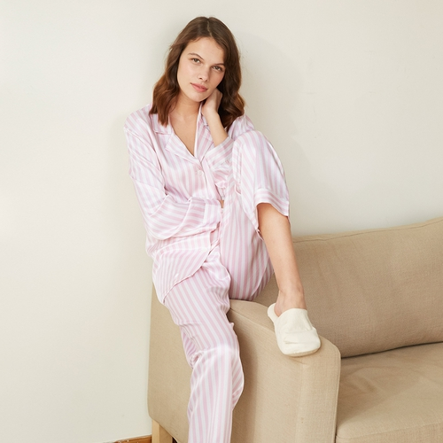 22 Momme Women Soft Pyjamas With Pink And White Stripe