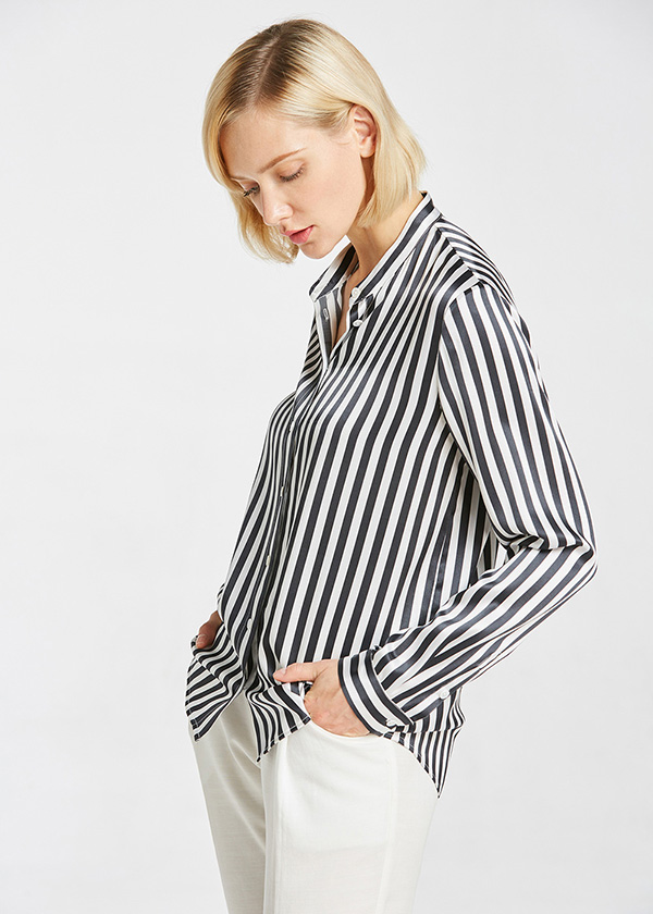 22mm Cool Vertical Stripes Silk Blouse Hot Sale On Lilysilk