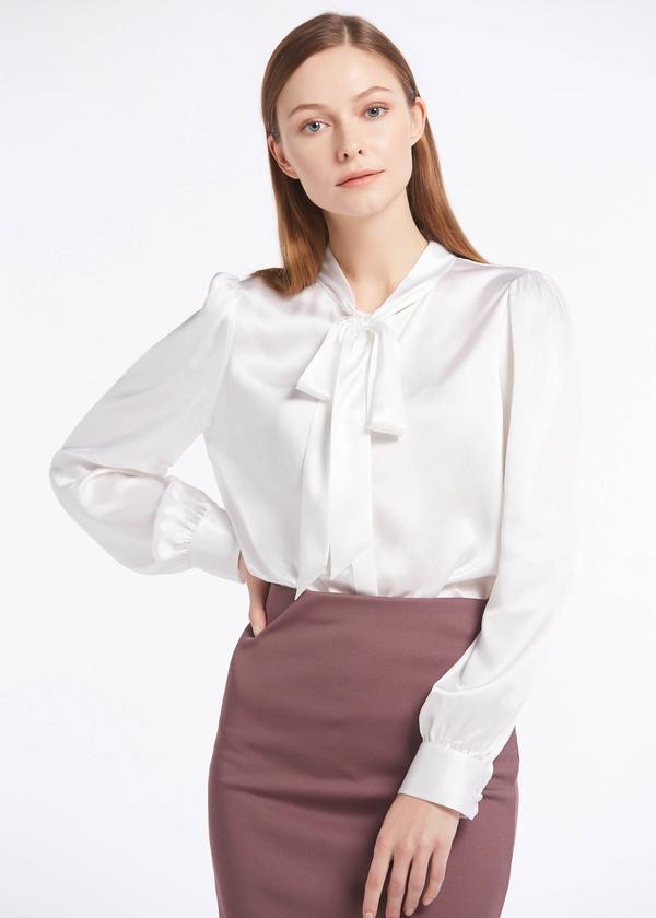 elegant tie collar 22mm silk shirts white hot pink lilysilk on sale