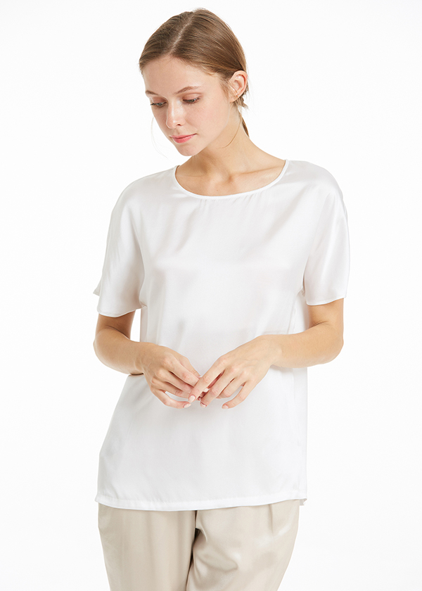 22mm simple relaxed fit silk t shirt for Silk white t shirt