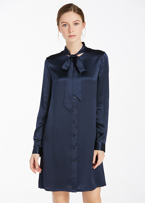 22MM Tie Front Silk Shirt Dress Hot Sale on Lilysilk