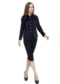 Navy Blue Silk Shirt
