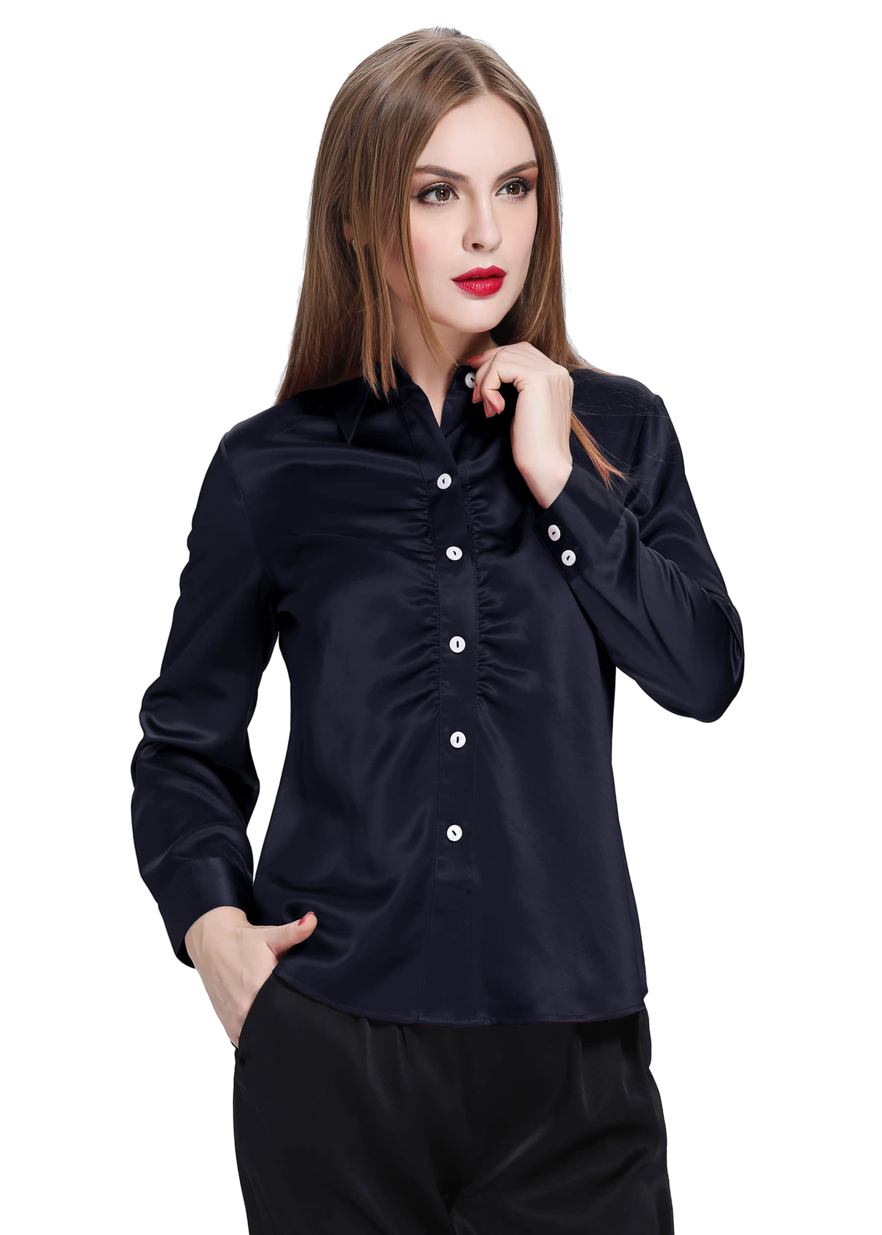 Claret Silk Shirt For Women