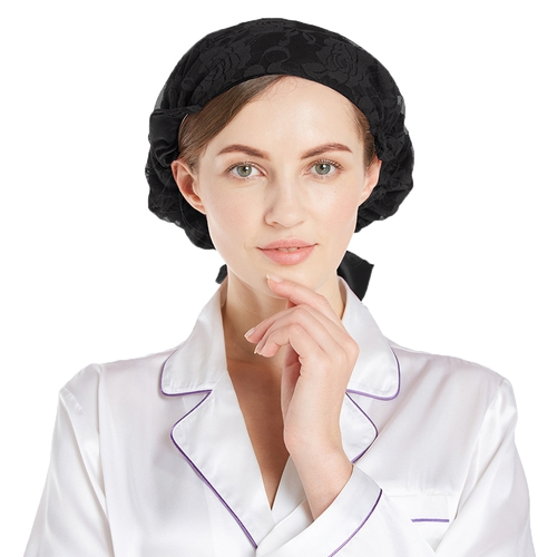 Elegant Silk Night Lacey Sleep Cap