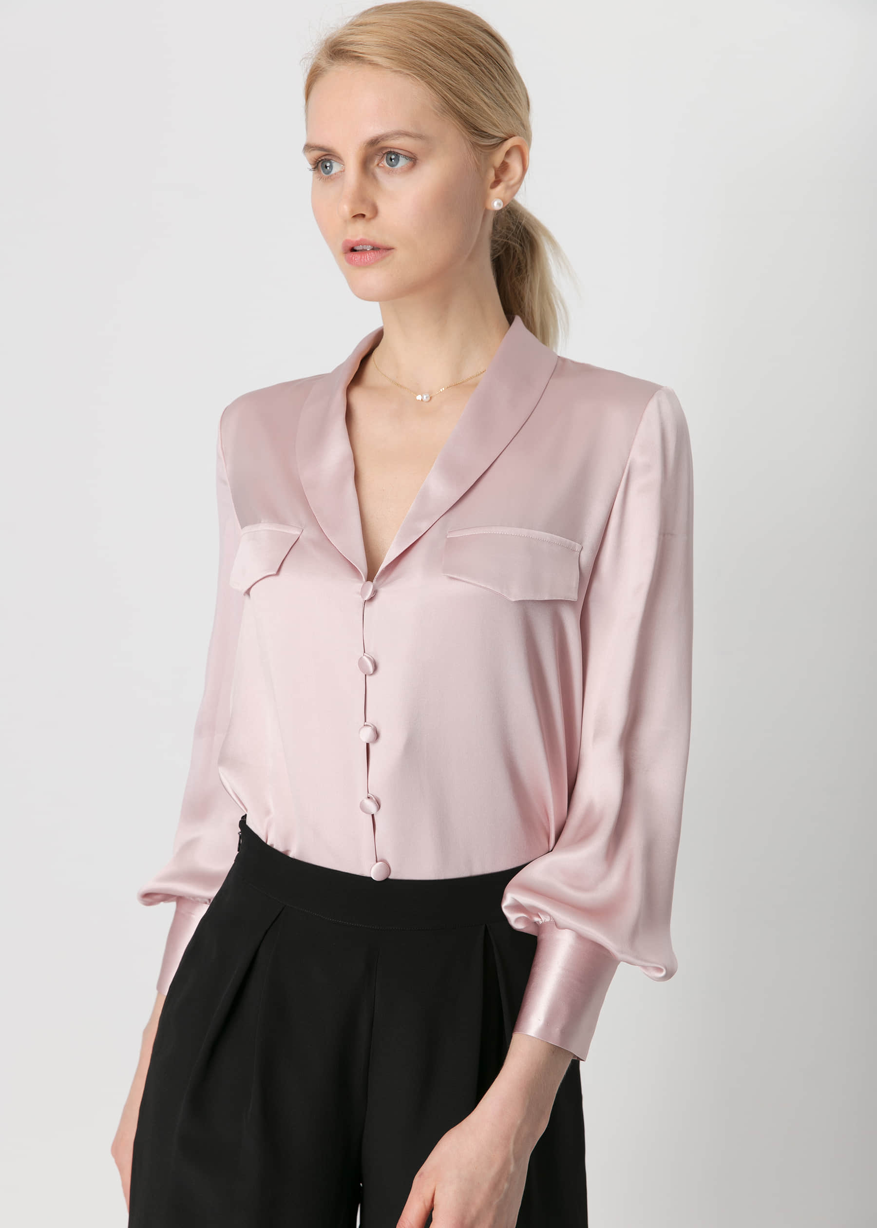 White Tie V Neck 22mm Silk Shirt Hot Sale On Lilysilk