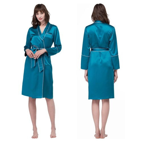 Extra Long Sleeve Silk Robe With White Piping