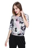 Floral Ink Painting Gray Silk Blouse