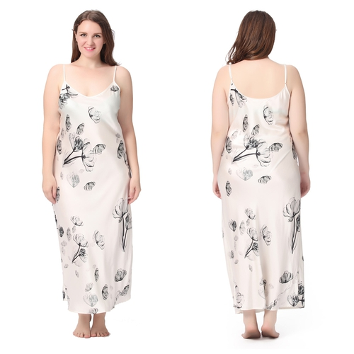 Lotus White Plus Size Silk Nightgown