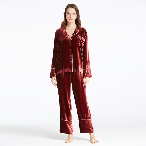 Lilysilk Chic Trimmed Velvet Pajamas Set