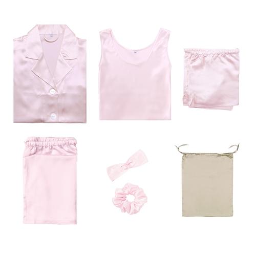 ピンク レディース シルクパジャマ セット