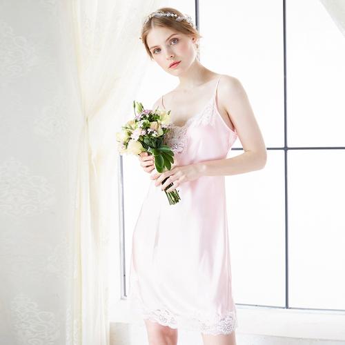 Light Pink Women Silk Chemise