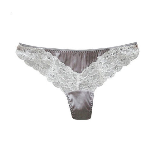 Grey with grey lace Silk Thong