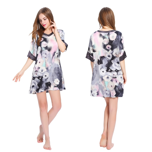 Short Silk Nightgown with Floral Ink Painting