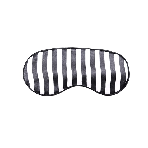 22 Momme Silk Eye Mask With Black And White Stripe