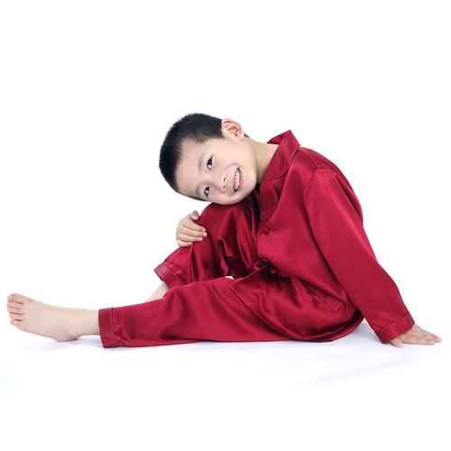Claret Boys Silk Pyjamas