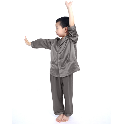 Dark Gray Boys Silk Pajamas