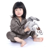 Dark Gray Girls Silk Pajamas
