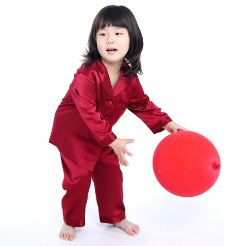 Claret Girls Silk Pajamas