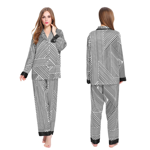Silk Pajamas Set with Stripe Pattern