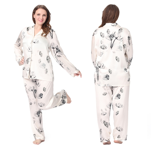 Lotus White Plus Size Silk Pajama