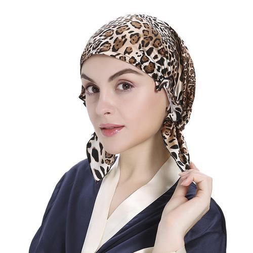 19 Momme Leopard Seide Schlafmütze Kopfbedeckung
