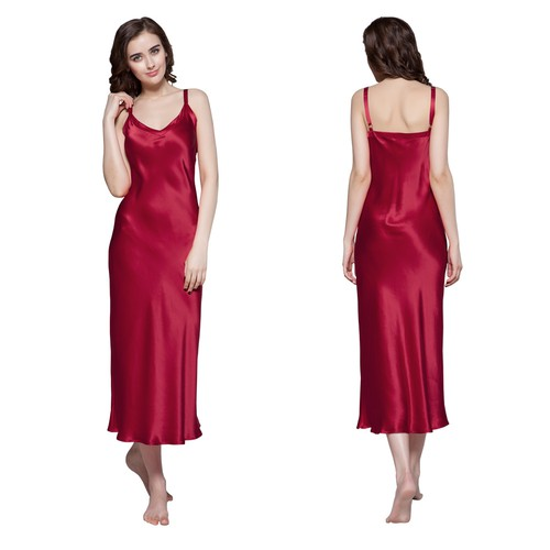 Rotwein Damen Seide Nachthemd