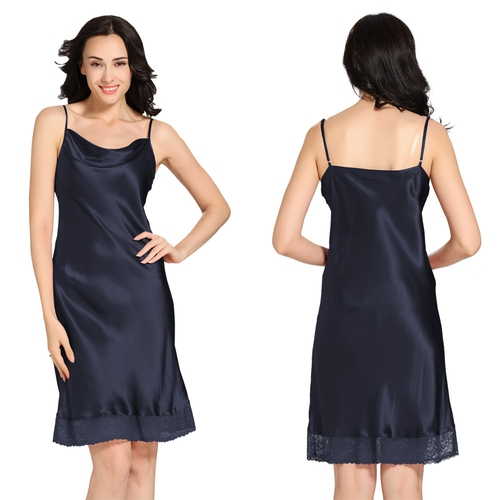 Dunkel Blau Damen Seide Nachthemd